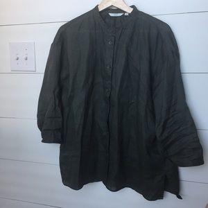 Uniqlo Green Linen Button Down